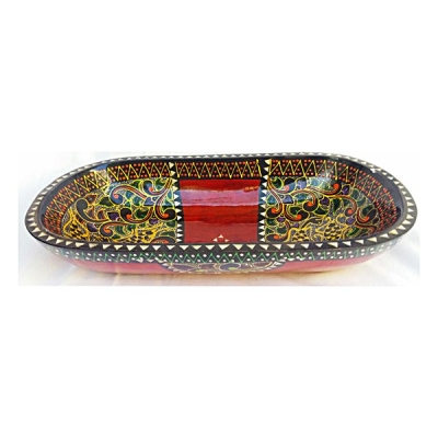 Svuota tasche ovale vassoio etnico dipinto a mano - Artigianato di Lombok